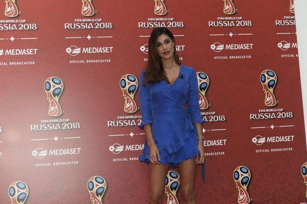 Belen Rodriguez fotografata in occasione della conferenza stampa Mediaset per la presentazione dell'offerta televisiva Mondiali Russia 2018 (Imagoeconomica)