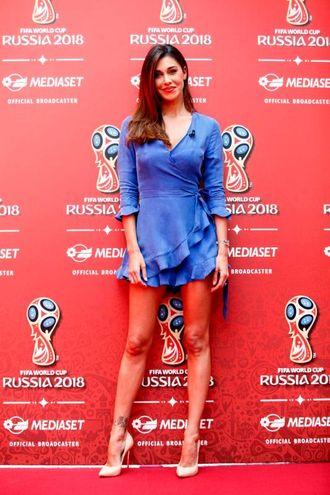 Belen Rodriguez fotografata in occasione della conferenza stampa Mediaset a Belen Rodriguez fotografata in occasione della conferenza stampa Mediaset per la presentazione dell'offerta televisiva Mondiali Russia 2018. Cologno Monzese per la presentazione dell'offerta televisiva Mondiali Russia 2018 (LaPresse)