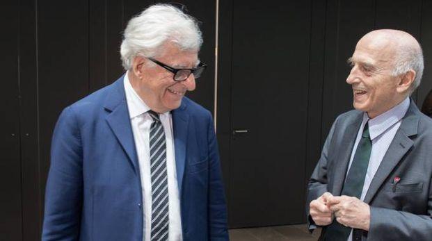 Patrizio Bertelli, ad del Gruppo Prada, con l'architetto Guido Canali