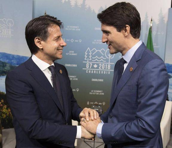 Conte col premier canadese Trudeau   (Ansa)