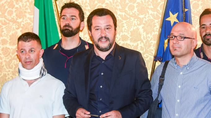 Massimo Bornino, il ministro degli Interni Matteo Salvini e Pietro Lombardo