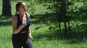 La Gerini ha jogging ai Giardini: ma è un set (foto Schicchi)