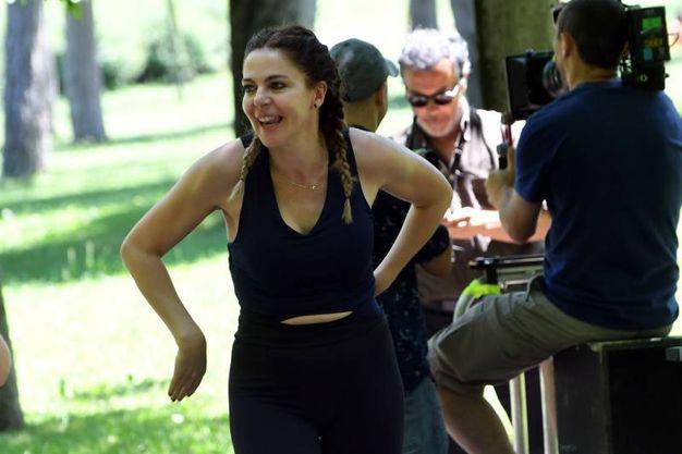 La Gerini, look ginnico e trucco acqua e sapone (foto Schicchi)