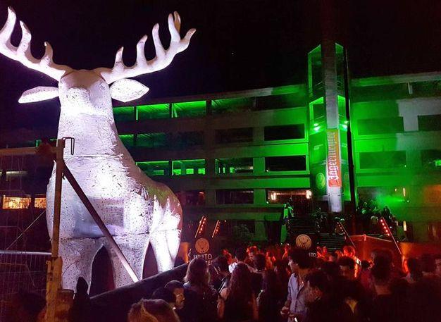 Una renna a Rimini: è il simbolo dell'amaro (foto Migliorini)