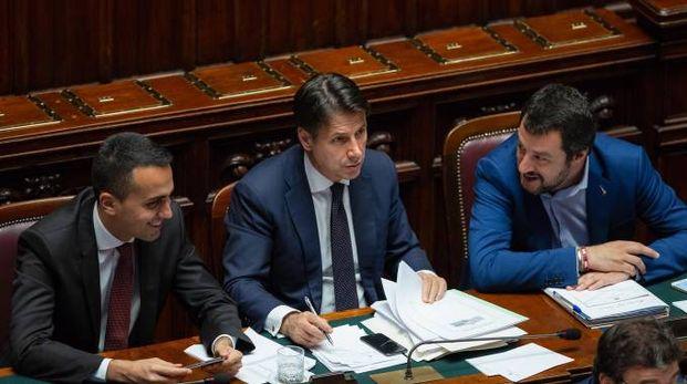 Di Maio, Conte e Salvini (Newpresse)