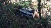 L'auto capottata a Montegranaro (foto Zeppilli)