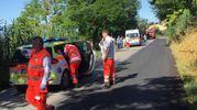 Sul posto dell'incidente automedica di Sant'Elpidio a Mare, ambulanza della Croce Gialla di Montegranaro ed elisoccorso (foto Zeppilli)