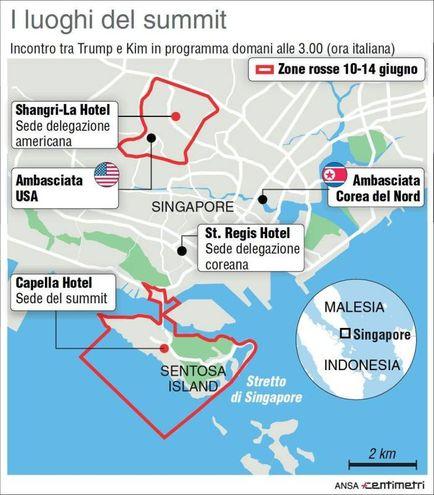 I luoghi del summit di Singapore, Infografica Centimetri