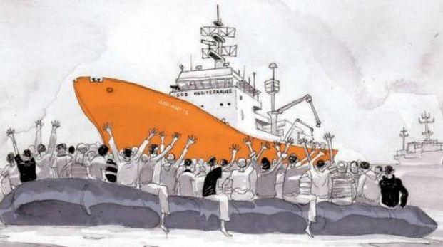 L'Aquarius e il gommone dei migranti (disegno di Bonaccorso)