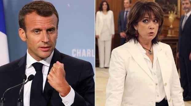 Emmanuel Macron e Dolores Delgado