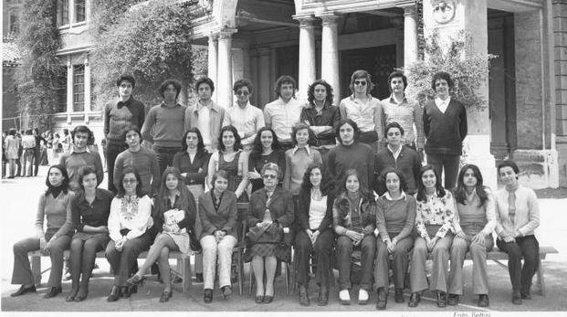 La V ginnasio al Mamiani di Roma, 1972-73: Buticchi è terzo da destra nella fila in alto
