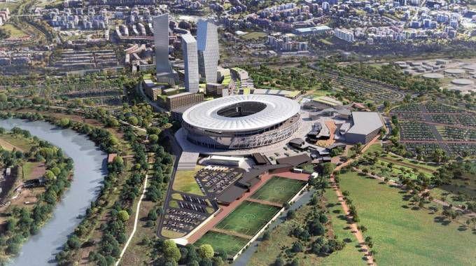 Un rendering del progetto dello stadio a Tor di Valle (Ansa)