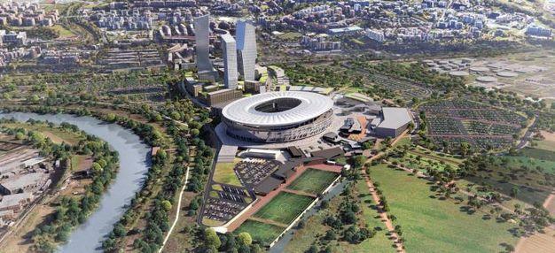 Un rendering del progetto dello  stadio a Tor di Valle dove dovrebbe sorgere il nuovo impianto dell'AS Roma (Ansa)