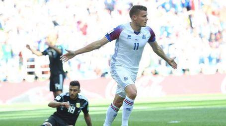 Alfred Finnbogason pareggia contro l'Argentina (Ansa)