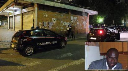 Carabinieri sul luogo del delitto. Nel riquadro, la vittima