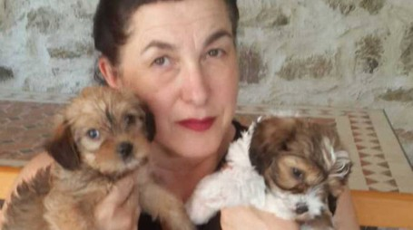 Paola Moriconi con due dei cinque cuccioli abbandonati e salvati da una passante
