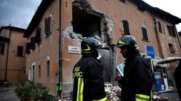 Terremoto, i danni a Visso in una foto d'archivio (Ansa)