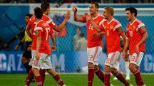 La gioia dei giocatori della nazionale russa (Afp)