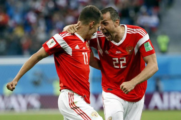 Russia-Egitto 3-0, Dzyuba (Ansa)