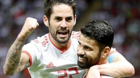 Iran-Spagna 0-1, gol di Diego Costa (Ansa)