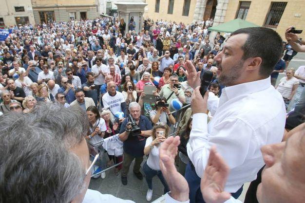 Matteo Salvini a Siena per sostenere Luigi De Mossi al ballottaggio (Di Pietro)