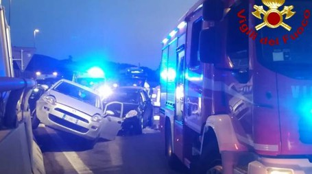 L'incidente a Vezzano (foto Vigili del Fuoco)