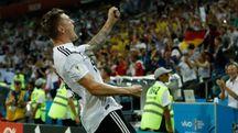 Mondiali 2018, Kroos esulta dopo il gol contro la Svezia (Lapresse)