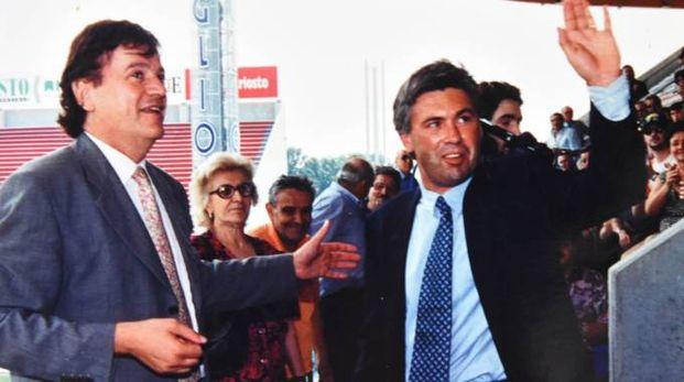 Franco Dal Cin con Carletto Ancelotti nello stadio Giglio appena costruito