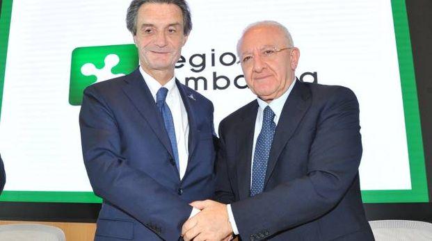 Attilio Fontana, presidente della Lombardia, e Vincenzo De Luca, presidente campano