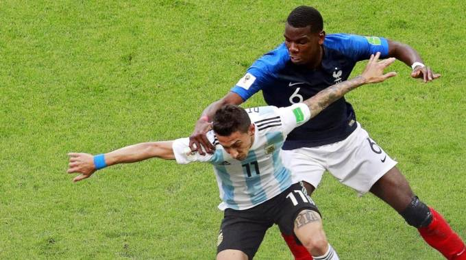 Mondiali 2018, Paul Pogba e Angel Di Maria (Ansa)