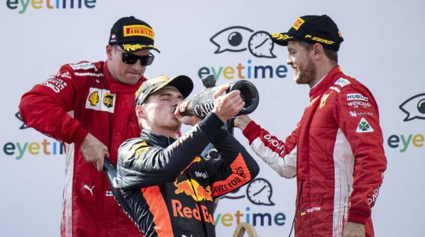 Verstappen-Raikkonen-Vettel: il podio al Gp di Austria (Ansa)