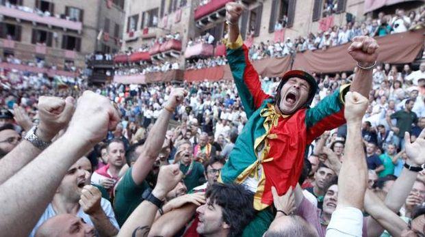 L'urlo del vincitore: Andrea Mari (Brio) ha appena vinto il Palio (foto Paolo Lazzeroni)