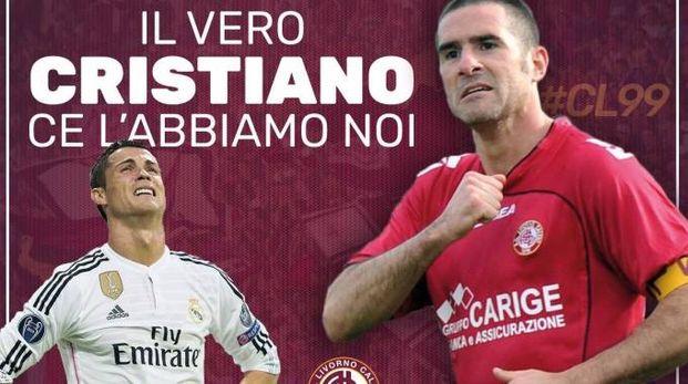 Il montaggio grafico pubblicato ieri dal Livorno Calcio, facendo riferimento alla maxi trattativa tra Ronaldo e la Juve