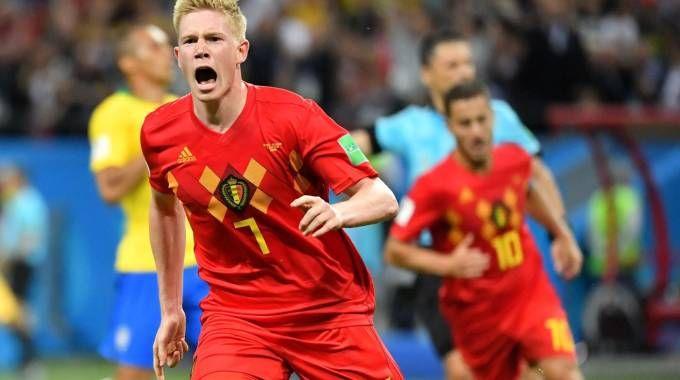 L'esultanza di De Bruyne, autore del secondo gol belga