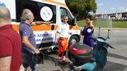 Due scooteristi sono caduti: il disagio si è creato dopo le 9 di questa mattina (Foto Zeppilli)