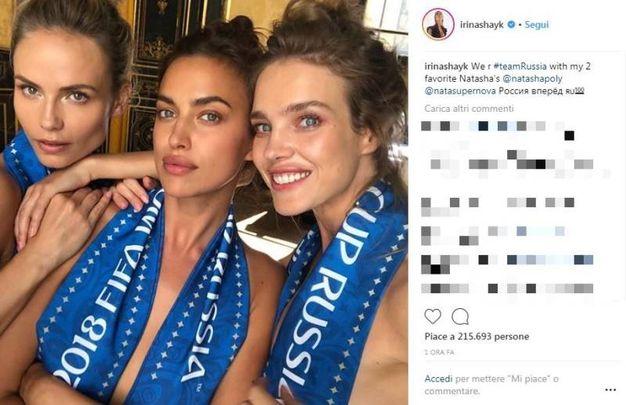 Da sinistra Natasha Poly, Irina Shayk e Natalia Vodianova (foto Instagram di Irina Shayk)