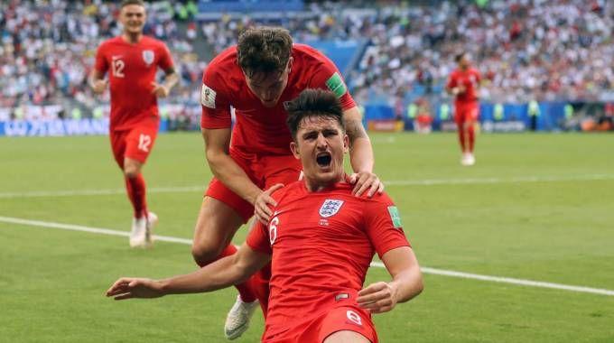 Harry Maguire in gol contro la Svezia (Lapresse)