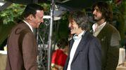 Massimo Ghini e Carlo Vanzina oggi in via Veneto, a Roma, sul set di 'Piper' (Ansa)