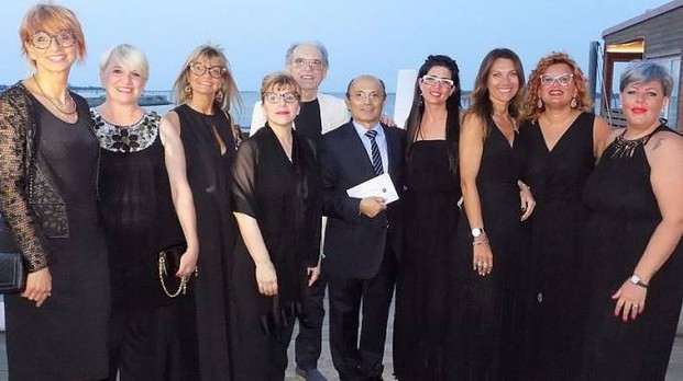 Le ragazze di Trip in Fashion e i due artisti  Giampiero Baldin e Luciano Siviero