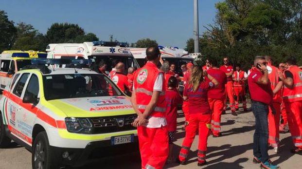 La protesta delle ambulanze Anpas