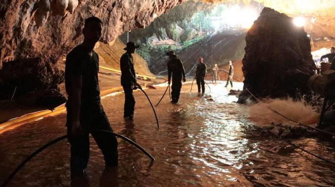 Thailandia, la grotta dove sono intrappolati i bambini (Ansa)