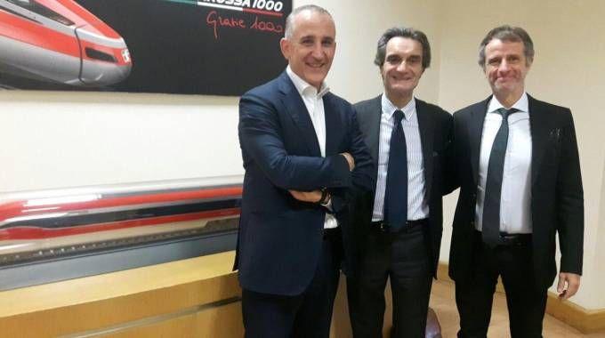 Renato Mazzoncini, ad delle FS, il governatore Attilio Fontana e l'assessore Davide Caparini