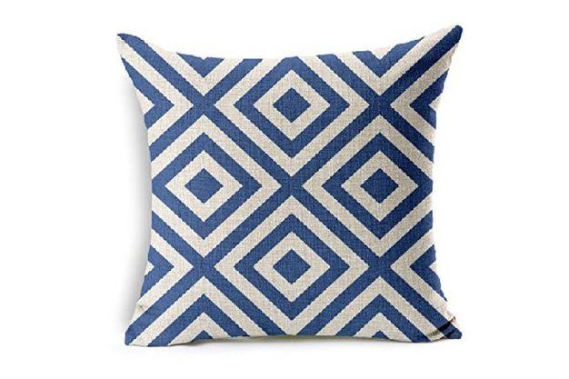cuscino arredo bianco e blu