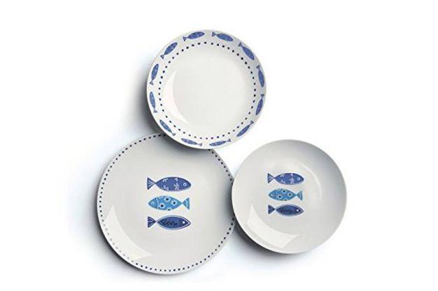 servizio tavola porcellana decorazione pesciolini