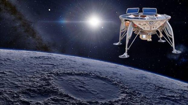Un render della sonda israeliana sulla Luna - foto Space IL