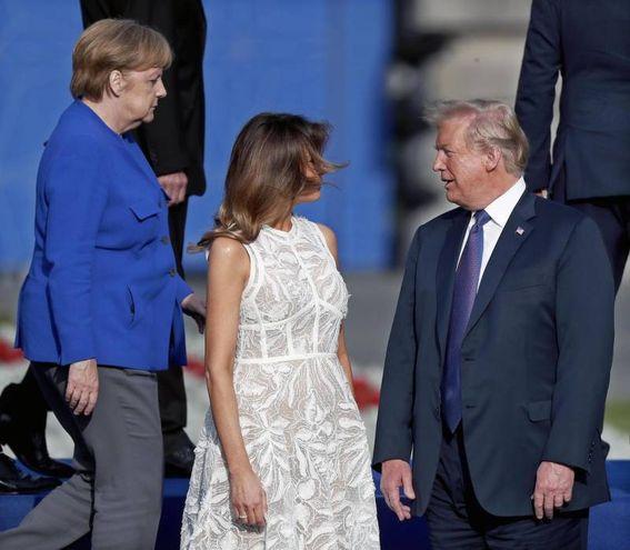 Trump, Melania e Angela Merkel (Ansa)