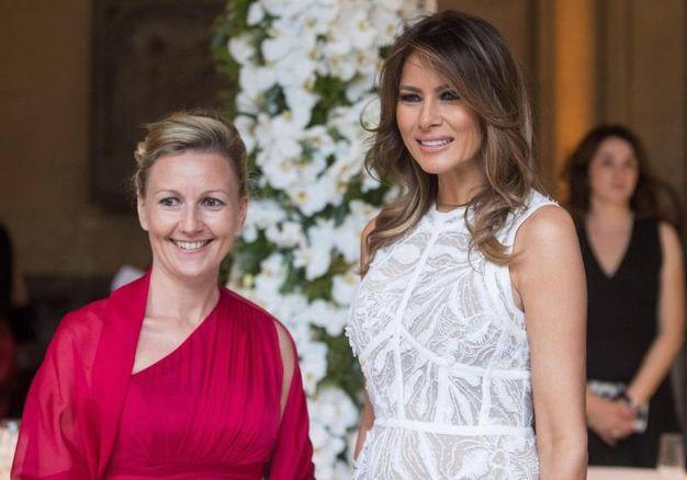 Melania con la moglie del primo ministro sloveno (Ansa)
