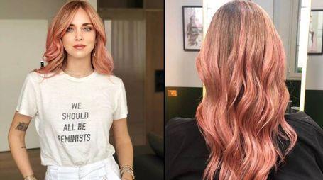 Chiara Ferragni con i capelli rosa prima di partire per Ibiza