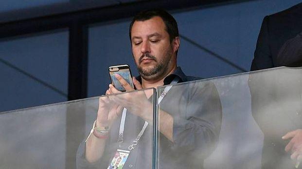 Matteo Salvini alla finale dei Mondiali 2018 (LaPresse)