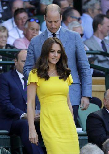 Kate Middleton e il principe William alla finale maschile di Wimbledon 2018 (Ansa)